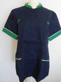 Alexandra Workwear Female Dark Blue With Green Short Sleeved Tunic. Size 18