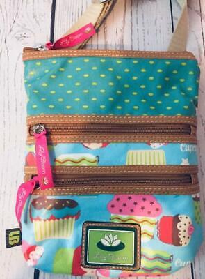 "Lily Bloom Cross  Body Cupcake Purse Hand Bag Logo 3 Zipper  10 x 8"" Adj.Strap"