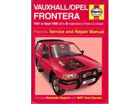 HAYNES VAUXHALL/OPEL FRONTERA MANUAL 1991 - 1998 PETROL & DIESEL