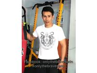 TATTOO T SHIRT- THAI AMULET TATTOO DESIGN-TWO FIGHTING TIGERS FOR POWER & WEALTH