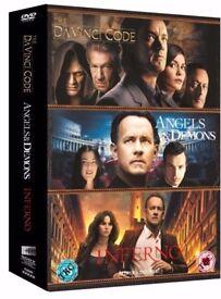 Triple bix set of Dan Brown DVDs. Angels & Demons,Inferno and Da Vinci Code