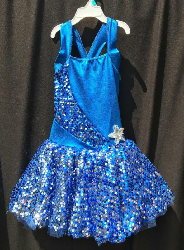 Girls Sequin Dance Costume with Tutu Child Medium Cicci Blue/Silver Sparkle USA