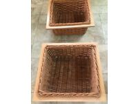 Pull Out Wicker Baskets x 2 With Runners For 500mm Width Cabinet (external) 464mm