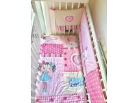 Excellent Condition Baby Toddler Wooden Bed Cot With Duvet And Mattress Adjustable Side