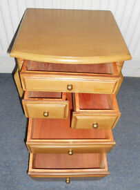 Sewing Cabinet or Side Table with 5 Drawers and 2 Side Pockets or Magazine Holders