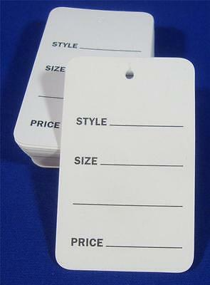 100 White Unstrung Garment Merchandise Price Tags Sm