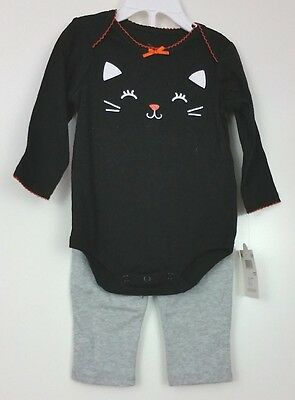NWT Halloween Costume Infant Cat Kitty Black Shirt Gray Pants 0-3 Months - Infant Halloween Costume 0-3 Months