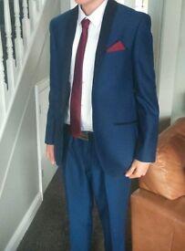 Mens Blue Designer Suit