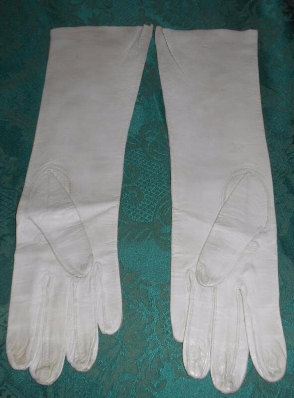 "Vintage 15"" Grey Kid Gloves Saks Fifth Avenue Made in France Size 7-1/2 Washable"