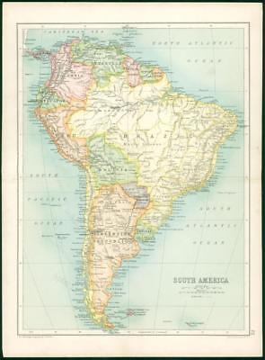 1912 Original Colour Antique Map - SOUTH AMERICA ARGENTINE BRAZIL BOLIVIA (77)