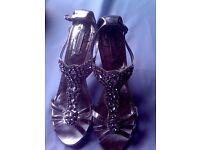 Silver diamante strappy shoes