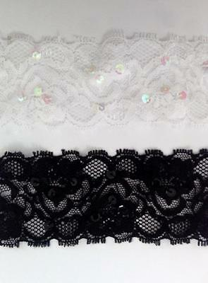 2 / 10 / 50 Y White / Black Sequin Floral Stretch Lace Trim 2