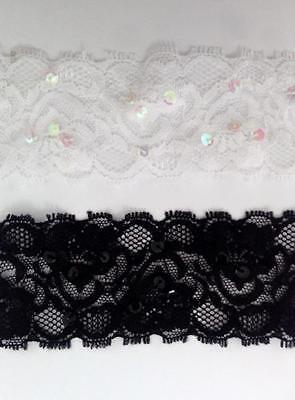 Black Stretch Lace Trim -  2 / 10 / 50 Y White / Black Sequin Floral Stretch Lace Trim 2