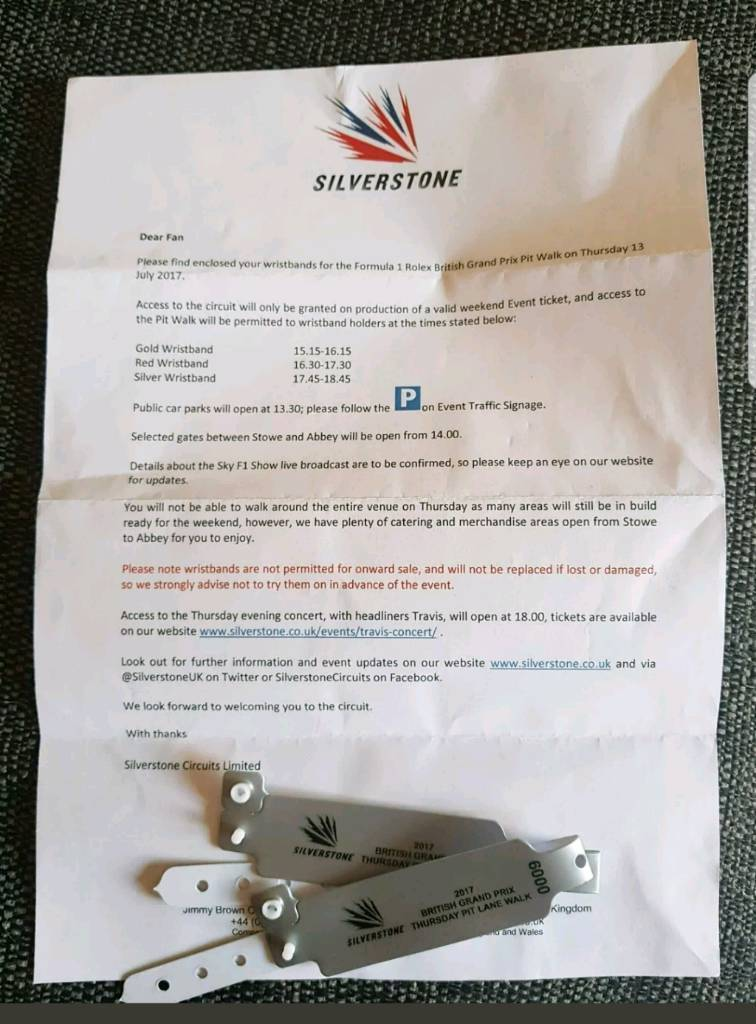 Silverstone F1 Thursday pit lane passes X2   in Higham Ferrers ...