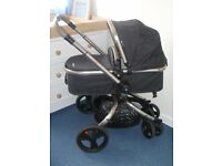Mothercare Orb Pram and Pushchair incl cosytoes / rain cover/instructions - Liquorice Canvas