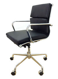 BRAND NEW EAMES SOFT PAD BLACK FAUX LEATHER OFFICE CHAIRS BOARDROOM RECEPTION CHAIRS FREE DELIVERY
