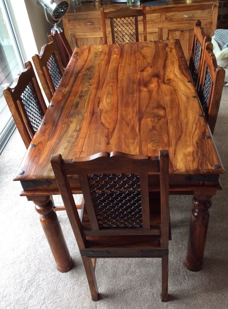 Sheesham Jali Solid Wood Dining Table 6 Chairs