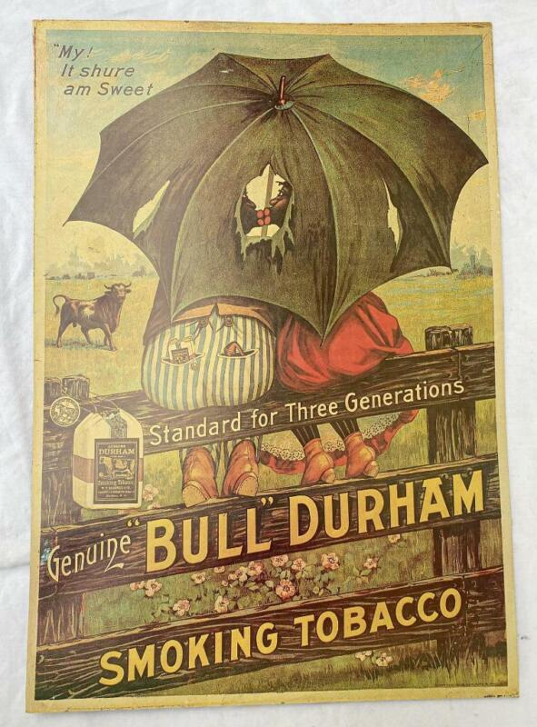 "Vintage NOS ""Bull"" Durham Smoking Tobacco 18x26"" Heavy Card Stock Poster (b)"
