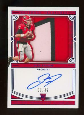 2020 National Treasures Collegiate Silhouettes Jake Fromm 8/49 Auto Patch RC