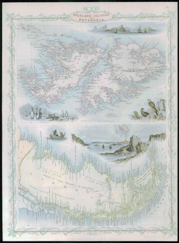 """1850  - RARE Antique Map of """"FALKLAND ISLANDS PATAGONIA"""" TALLIS FULL COLOUR (38)"""