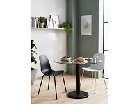 John Lewis & Partners Enzo 2 Seater Glass Round Dining Table, Black Marble