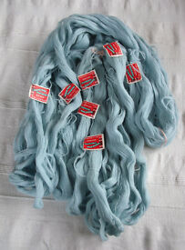 Vintage (1950/60s?) NEW Bairns Wear 3 ply light blue Scotch knitting 100% wool x 7 1oz/28.35g skeins