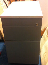 office pedestal filing cabinet with white top