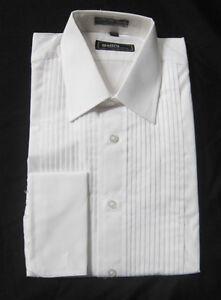 New mens fumagalli white laydown cotton french cuff tuxedo for Tuxedo shirt french cuff
