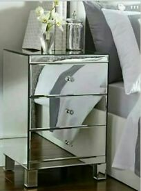 Mirrored bedside drawers