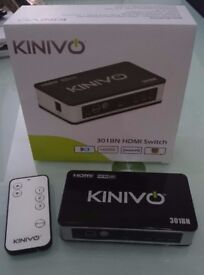 Kinivo 3 port 301BN HDMI Switch, boxed with remote control
