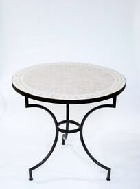 Grey Outdoor Table, Mosaic Zellige, Bistro Garden Furniture. 50cm DIA, 45cm H
