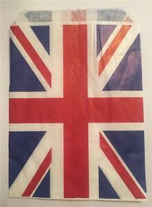 40 UNION JACK RED WHITE AND BLUE PAPER BAGS 5 X 7