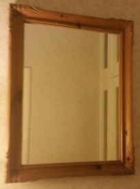 Old Antique Carved Pine Wall Mirror