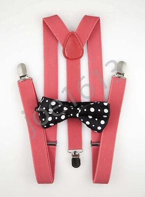 Black White Dots Bow Tie Watermelon Red Suspender Mens Adult Combo Set SBTS31 (Watermelon Bow Tie)