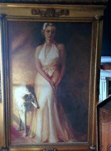 Huge oil painting, Society Lady with Afgan Hound, 1930's