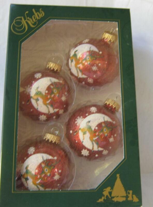 Krebs Lauscha Germany 4 RED WHITE REINDEER Blown Glass Christmas Ornaments 50