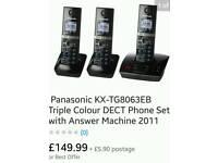 Panasonic KXTG8063 Digital Cordless Telephone With Answer System 2 phones Bundle