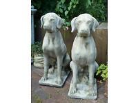 Large Hunting Dog cast stoneware garden ornament