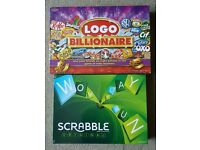 BRAND NEW SEALED BOARD GAMES. SCRABBLE AND LOGO BILLIONAIRE. £10 EACH