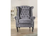 Chesterfield Luxury 3 seater & Wing back Chair - Silver