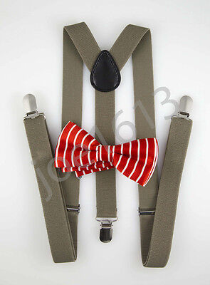 Dark Tan Combo - Red White Stripe Bow Tie Dark Tan Suspender Mens Adult Combo Set Wedding SBTS10