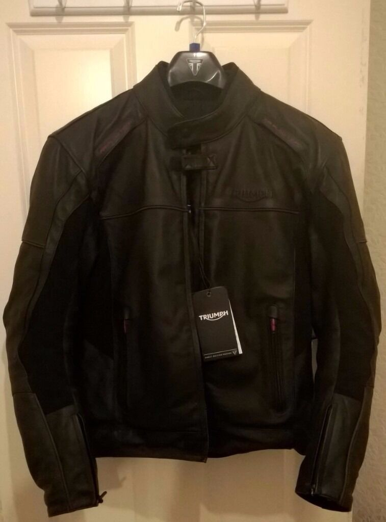 triumph taloc leather waterproof motorcycle jacket - large | in