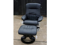 Brand New Santos Leather Recliner Chair/Footstool -Black.