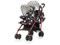 Cosatto double buggy with star print design, nearly brand new