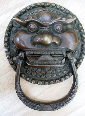 Feng shui Real Brass Metal FU DOG BEAST Tiger HEAD MASK Door Knocker knock 4.5""