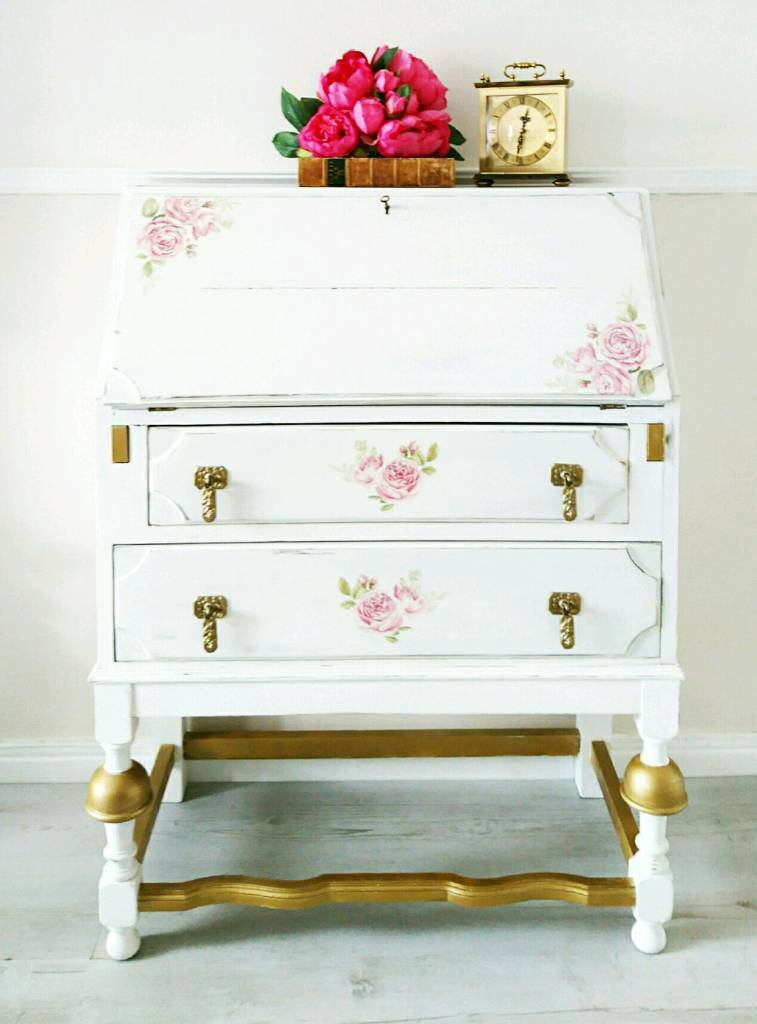 Bureau Writing Desk Vintage Decoupage Shabby Chic
