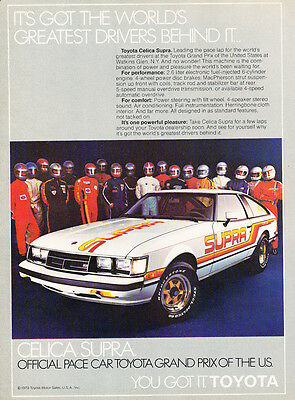 1980 Toyota Celica Supra USGP Race Classic Vintage Advertisement Ad D29