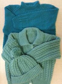 Hand Knitted Jumper, Cardigan & Hat