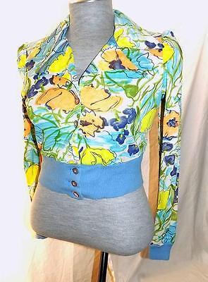Narcissus Vtg Acetate Monet Floral Blouse w/ Knit Cuffs Screams 1970's Hippie M (Monet Hipster)