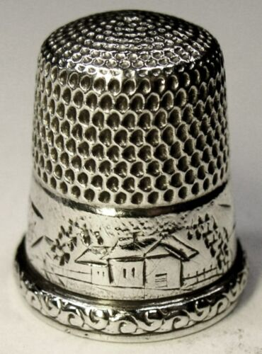 "Antique Simons Brothers Sterling Silver Thimble  ""Landscape"" Scene  C1880s"